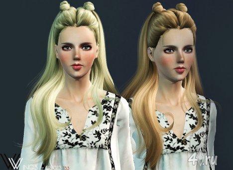Прическа с волнистыми волосами и шишками для Симс 3 в формате sims3pack