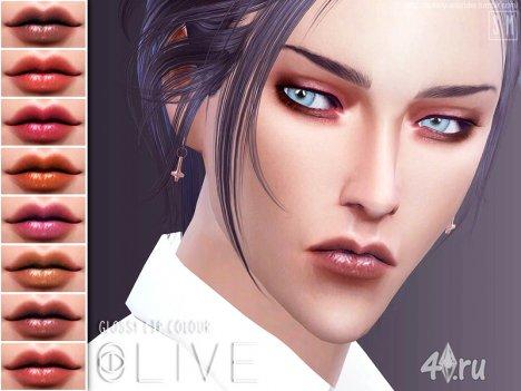 """Блеск для губ """"Оливковый"""" от SM для Sims 4"""