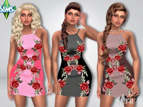 Короткое платье с розочками для игры Симс 4 от Marty