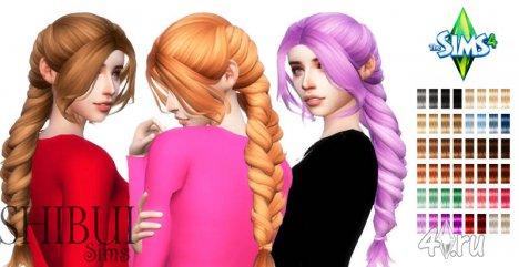 """Причёска """"Колосок"""" с длинными волосами от Анто для игры Симс 4"""