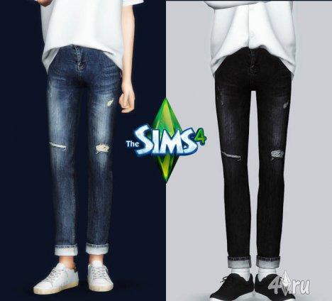 Рваные джинсы с подворотами от Горрилакс для игры Симс 4