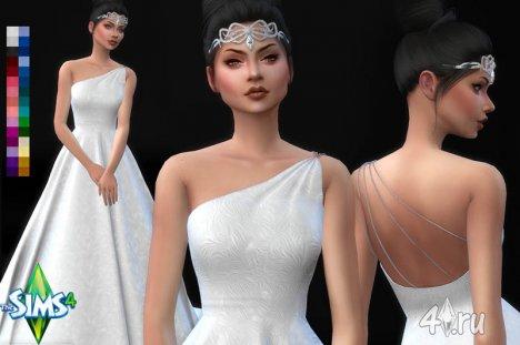 Свадебное платье с одной бретелькой от Urbanos для игры Симс 4