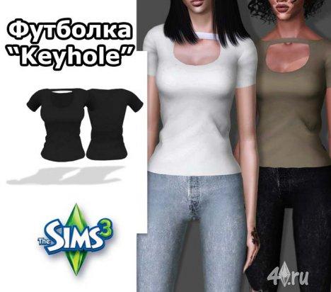 """Женская футболка """"Keyhole"""" от Bill для Симс 3 в формате sims3pack"""