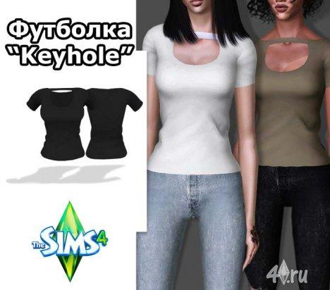 "Женская футболка ""Keyhole"" от Bill для Симс 4"