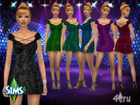 Блестящее шёлковое платье от Paogae для Симс 4