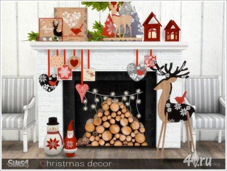 Набор рождественского декора в скандинавском стиле от Severinka для The Sim ...