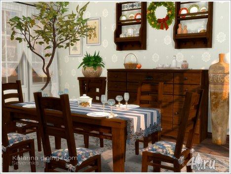 Набор мебели и декора для столовой в стиле кантри от Severinka для The Sims 4