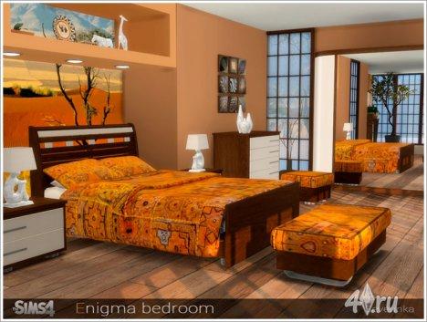 Набор мебели и декора для спальни в современном стиле с этническими мотивами от Severinka для The Sims 4
