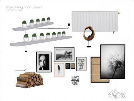 Набор декора для оформления гостиной в скандинавском стиле от Severinka для The Sims 4