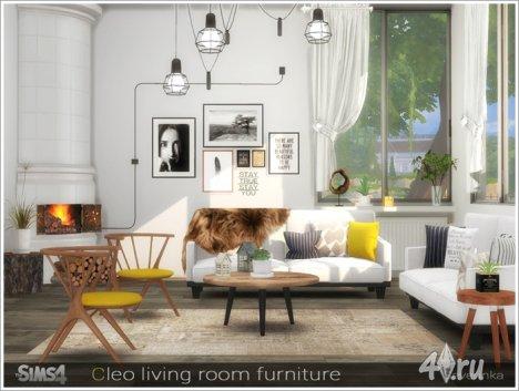 Набор мебели и декора для оформления гостиной в скандинавском стиле от Severinka для The Sims 4