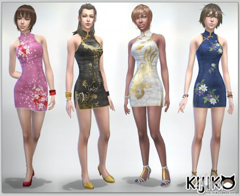 Платье ципао от Kijiko для The Sims 4