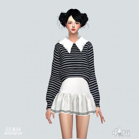 Свитер с флисовым воротником от Marigold для The Sims 4