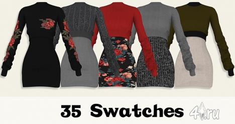 """Платье-свитер """"Юки"""" (35 цветов) от Lumy для The Sims 4"""