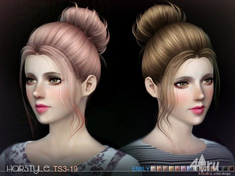 Женская прическа с пучком от S-Club для The Sims 3
