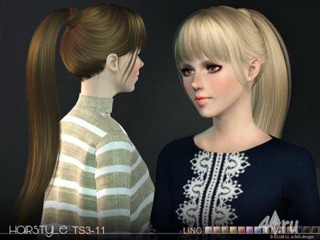 Женская прическа с хвостом от S-Club для The Sims 3