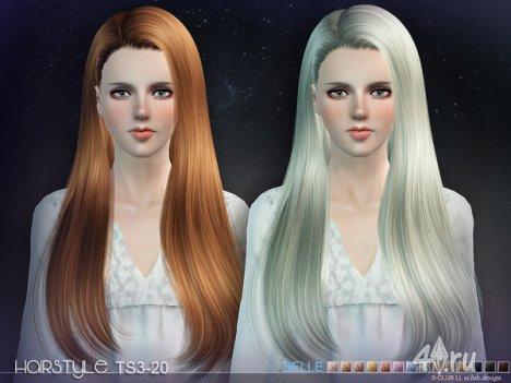 Женская прическа с длинными волосами от S-Club для The Sims 3