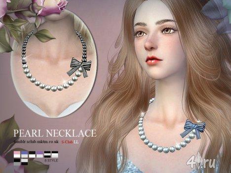 Жемчужное ожерелье от S-CLub для The Sims 4