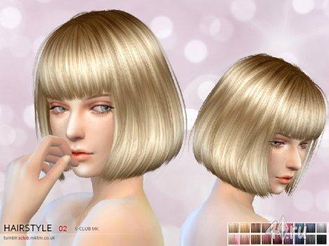 Женская прическа карэ от S-Club для The Sims 4