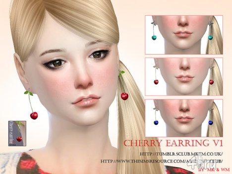 """Серьги """"Вишни"""" от S-Club для The Sims 4"""