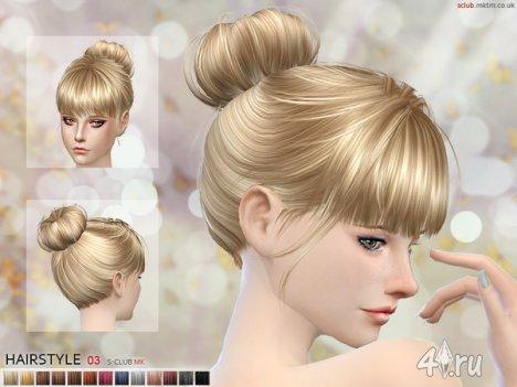Женская прическа с пучком от S-Club для The Sims 4