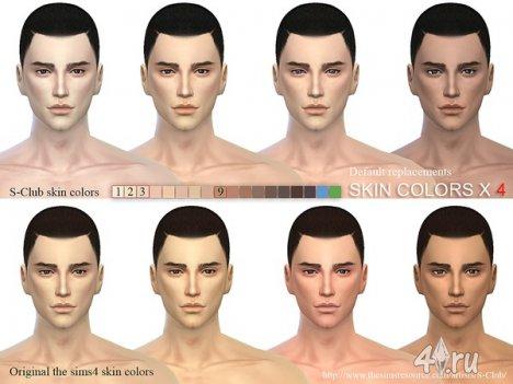 Дефолтный скинтон, заменяющий игровой, от S-Club для The Sims 4