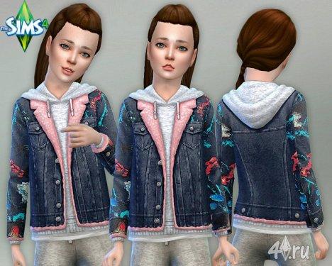 Детские Худи c джинсовой курткой от Лилка для Симс 4