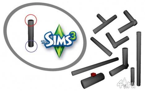 Набор водопроводных труб для игры Симс з в формате sims3pack