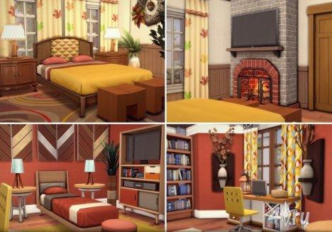 Великолепный кирпичный особняк в осеннем стиле для Sims 4 от Mych